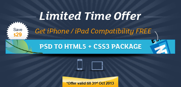 Limited Offer – FREE iPhone, iPad & Android compatibility on HTML5 + CSS3 Package
